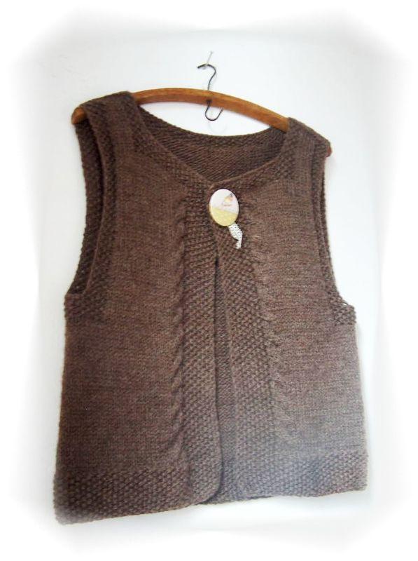 modèle tricot veste sans manche femme