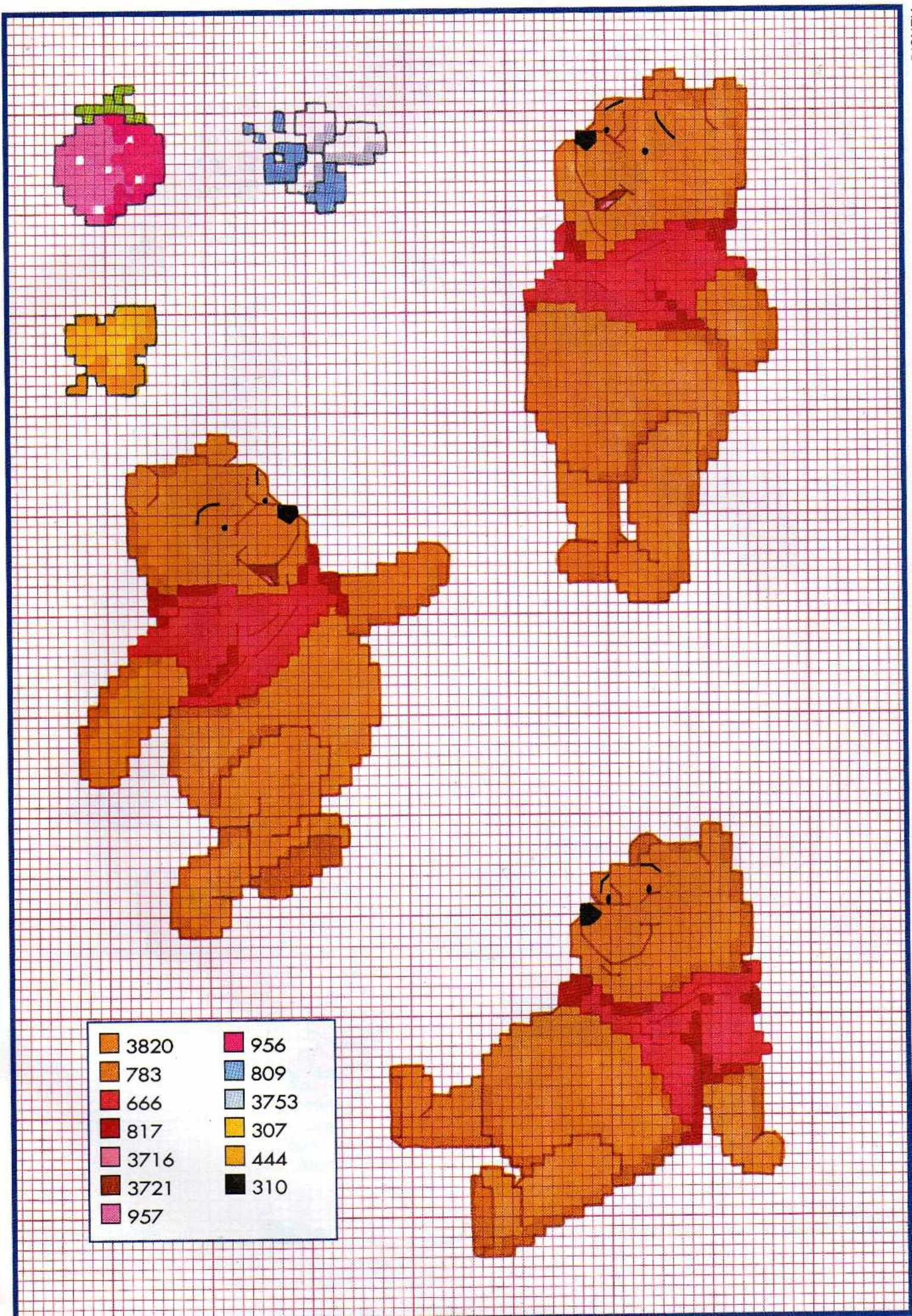 Patron tricot winnie l ourson for Punto croce disney winnie the pooh