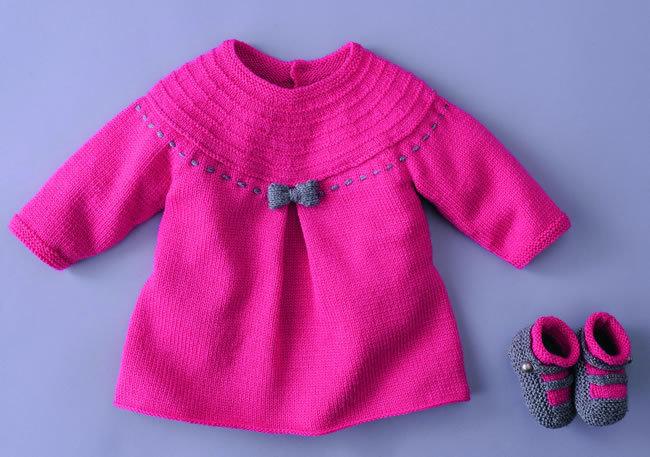 modele tricoter robe bebe