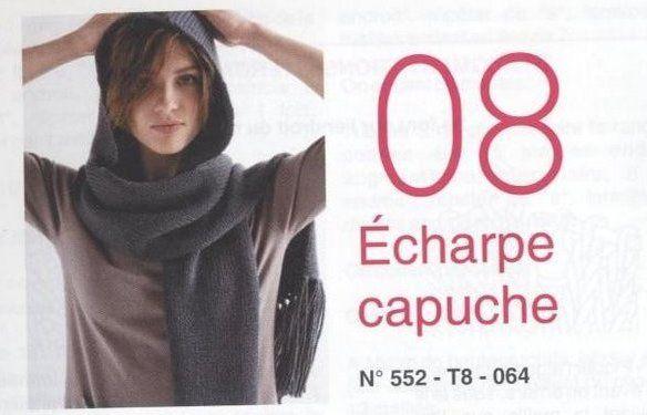 Modele PDF pour Tricoter Echarpe Capuche FR : Tutoriels de fabrication par