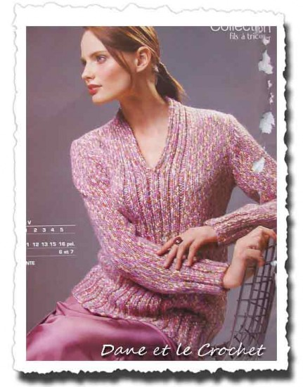 affichage modèle tricot pull col v femme bouton source 25a8bb8f07d