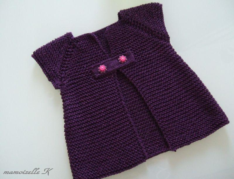 modèle tricot gilet fille 6 mois