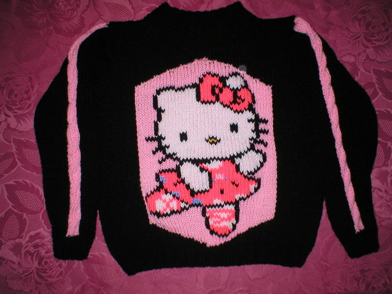 modèle tricot pull hello kitty