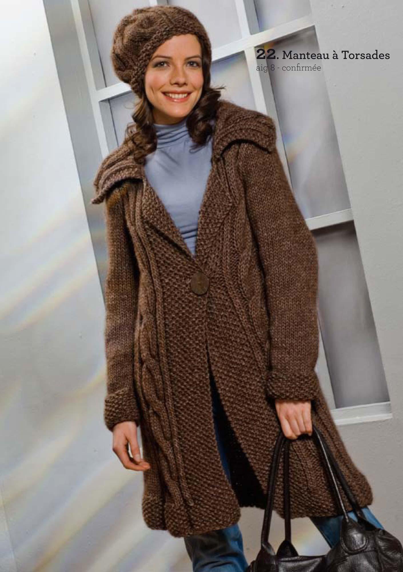 modele tricot gratuit manteau femme