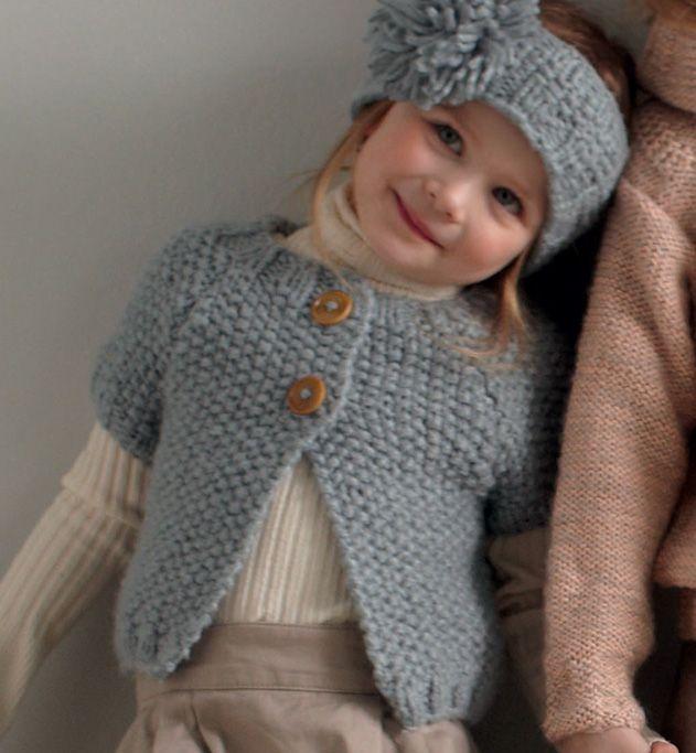 Mod le tricot gilet manches courtes fille - Tricot assembler les manches ...
