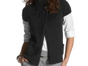 modèle tricot gilet manche courte femme