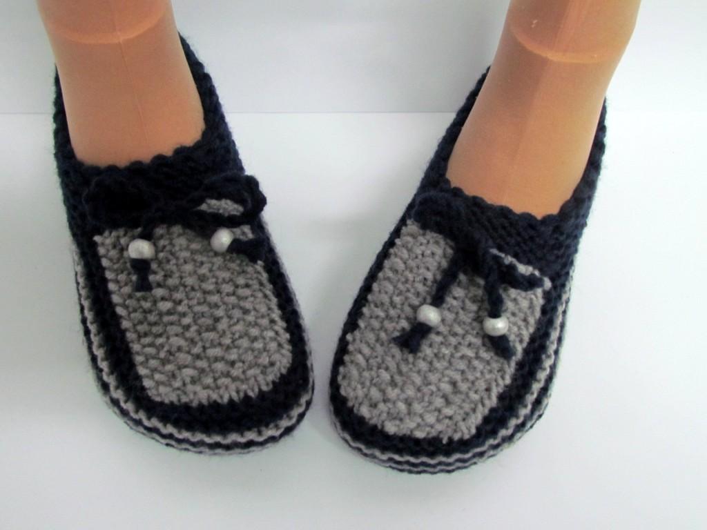 patron tricot pantoufles homme