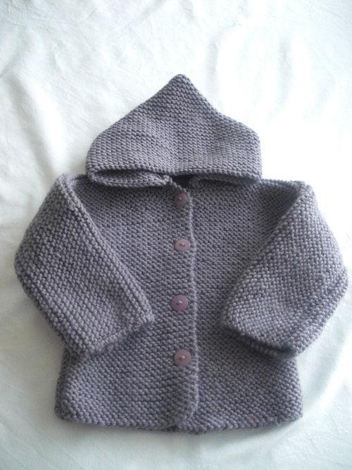 modèle tricot veste a capuche bébé