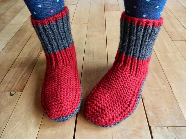 cr ation mod le tricot chausson en laine pour adulte. Black Bedroom Furniture Sets. Home Design Ideas