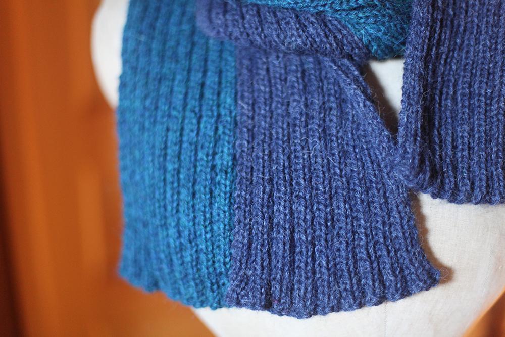 tricoter echarpe bicolore