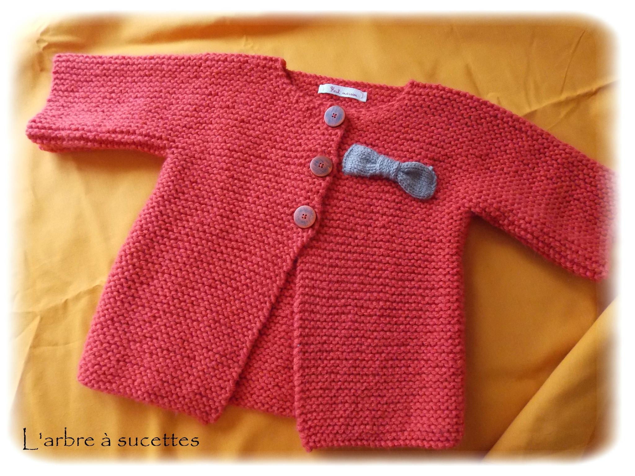 Gilet manches courtes 12 mois, Modèle de tricot