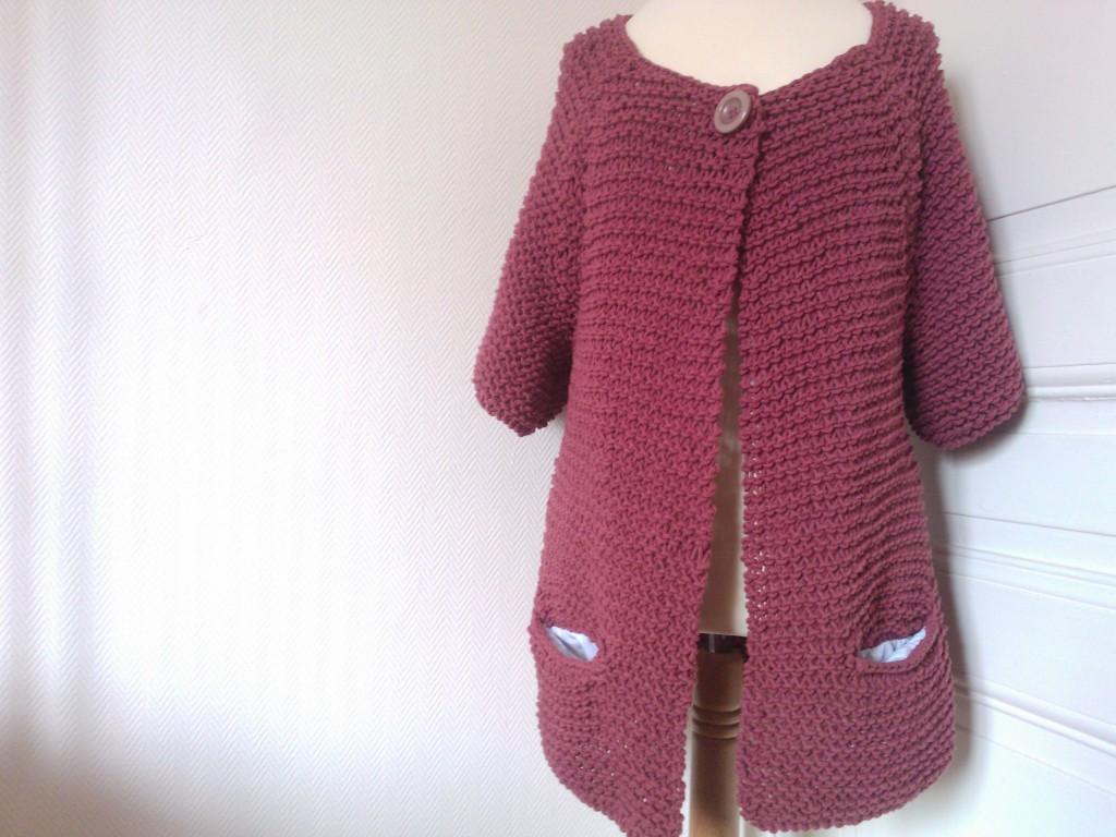 modèle tricot gilet point mousse