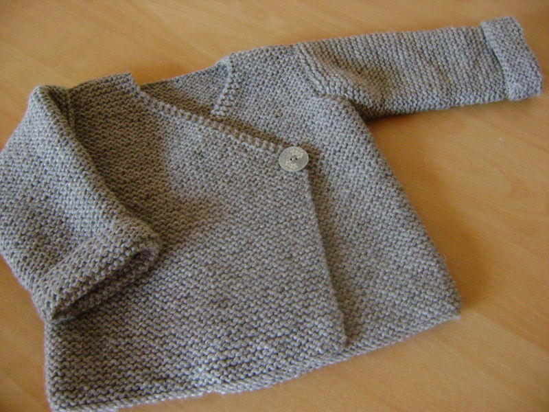 modèle tricot gilet point mousse