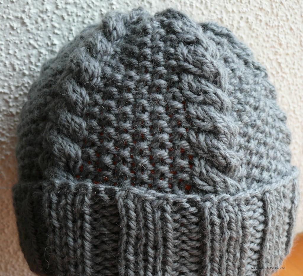 modèle tricot bonnet homme point irlandais