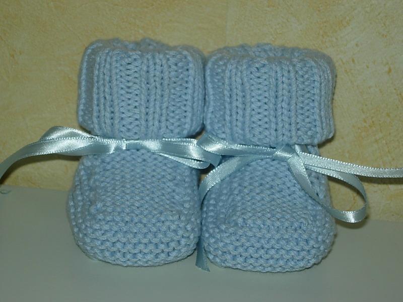 Clich mod le tricot chausson b b debutant - Modele tricot bebe gratuit debutant ...