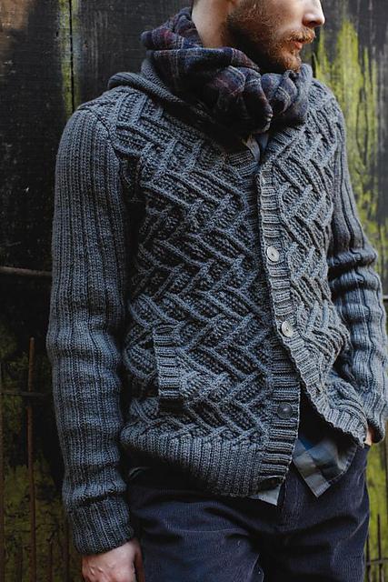 modèle tricot gilet capuche homme
