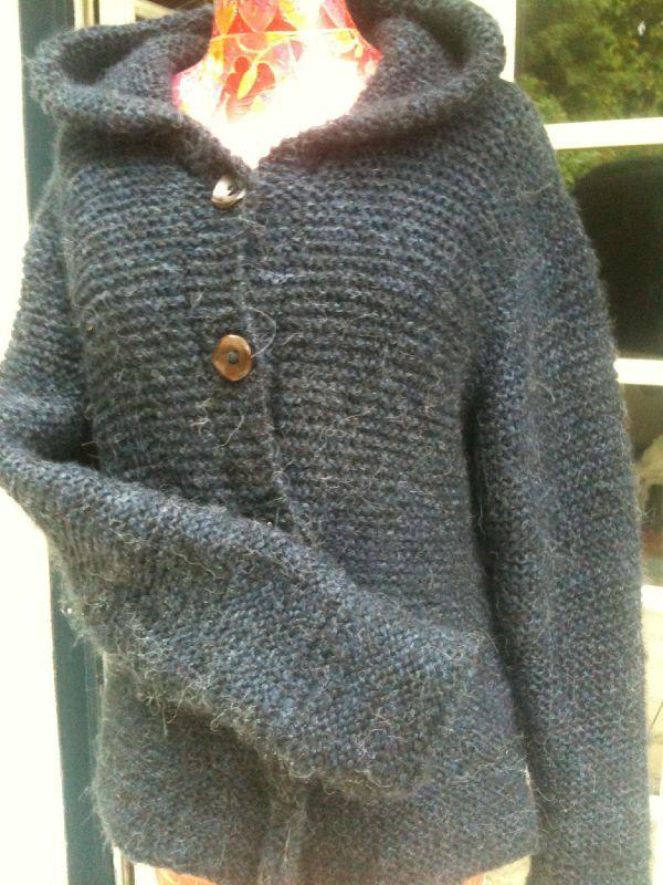 patron tricot gilet capuche femme