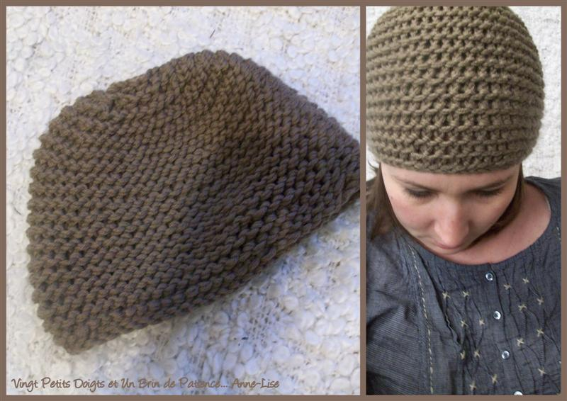 patron tricot bonnet point mousse