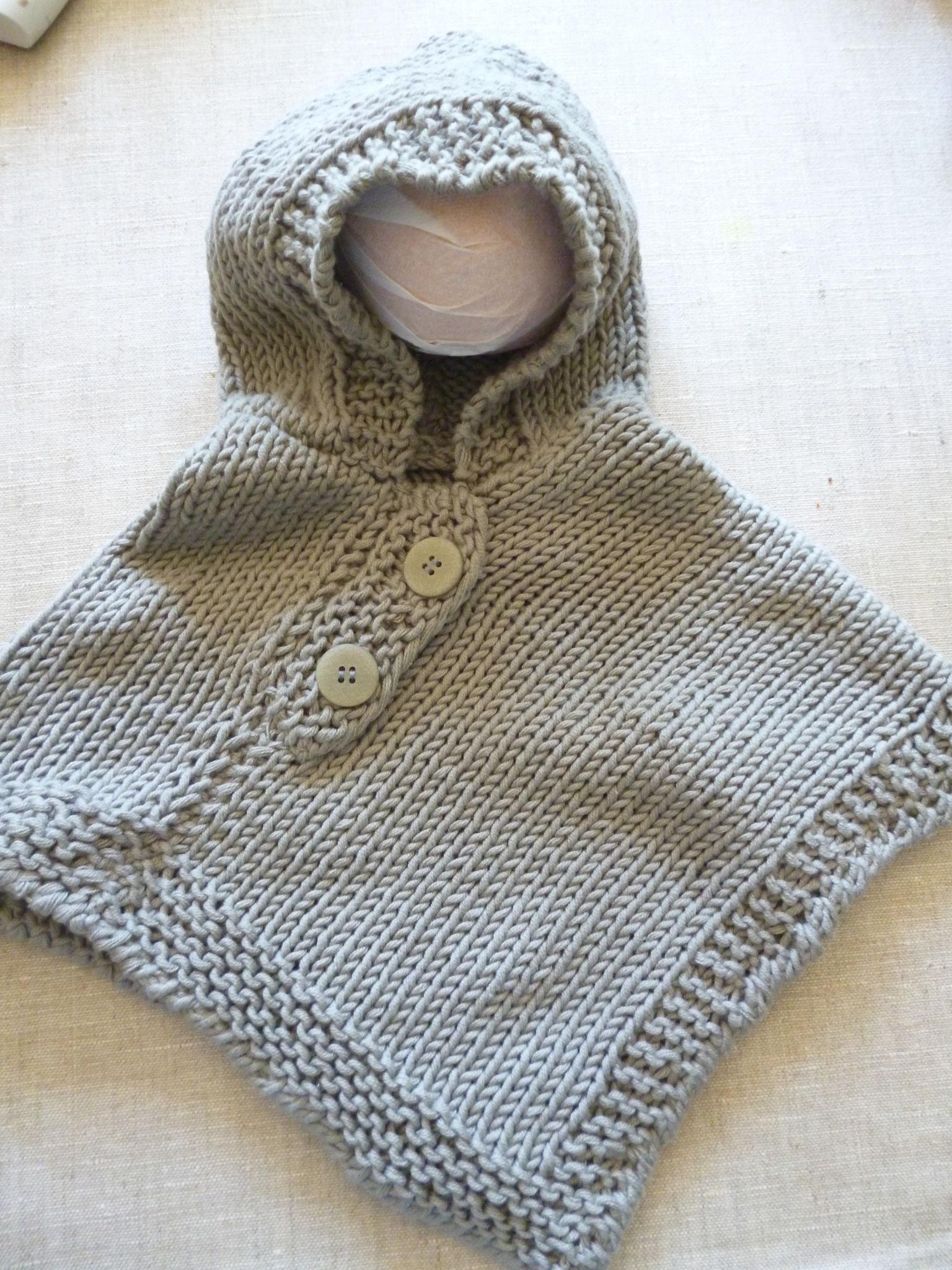 patron tricot poncho bébé