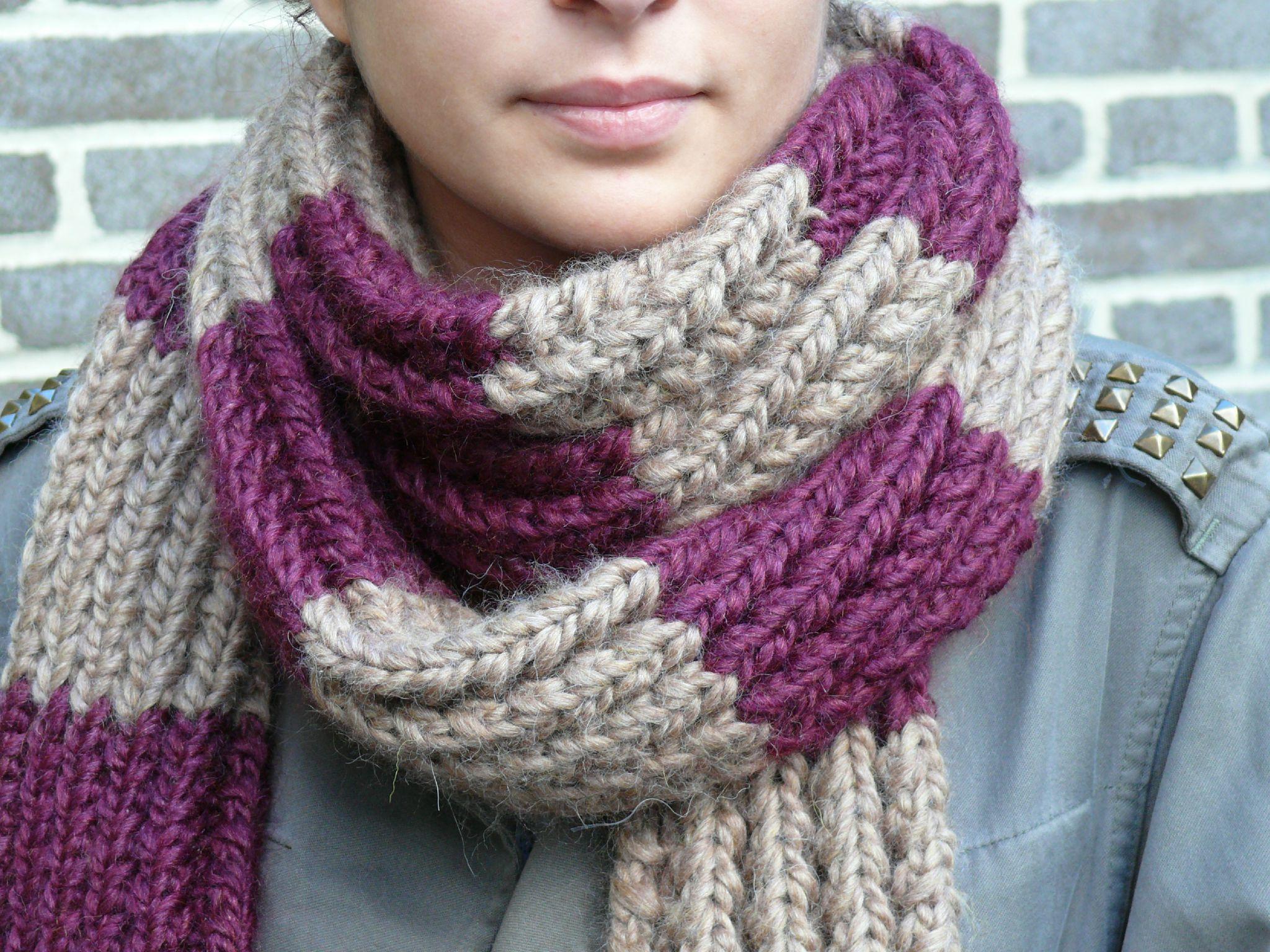 tricoter echarpe rayures horizontales