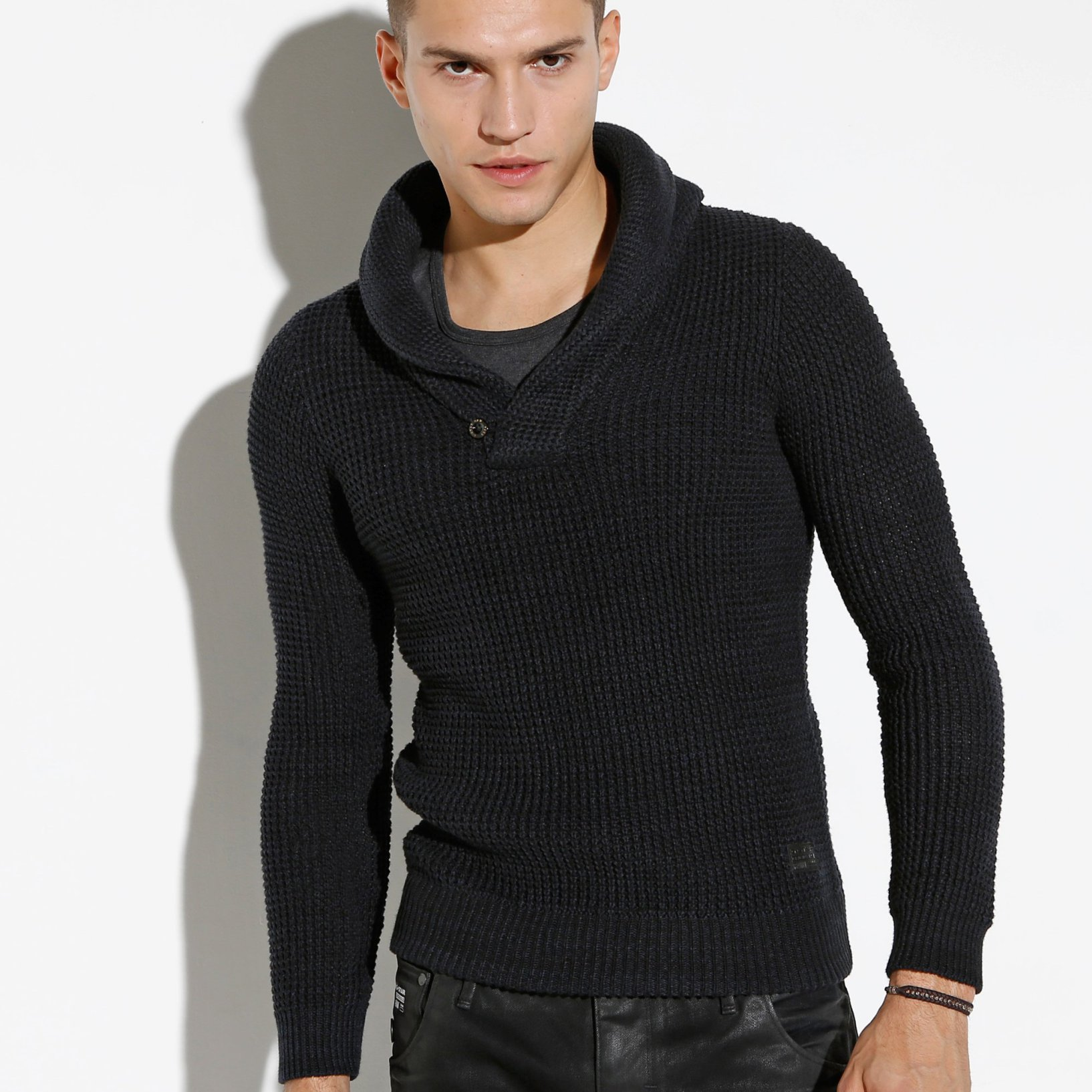 modele tricot pull homme col chale
