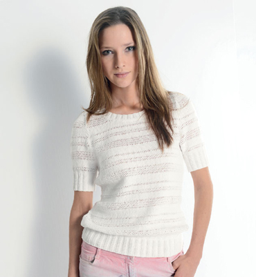 Pull manche courte femme tricot
