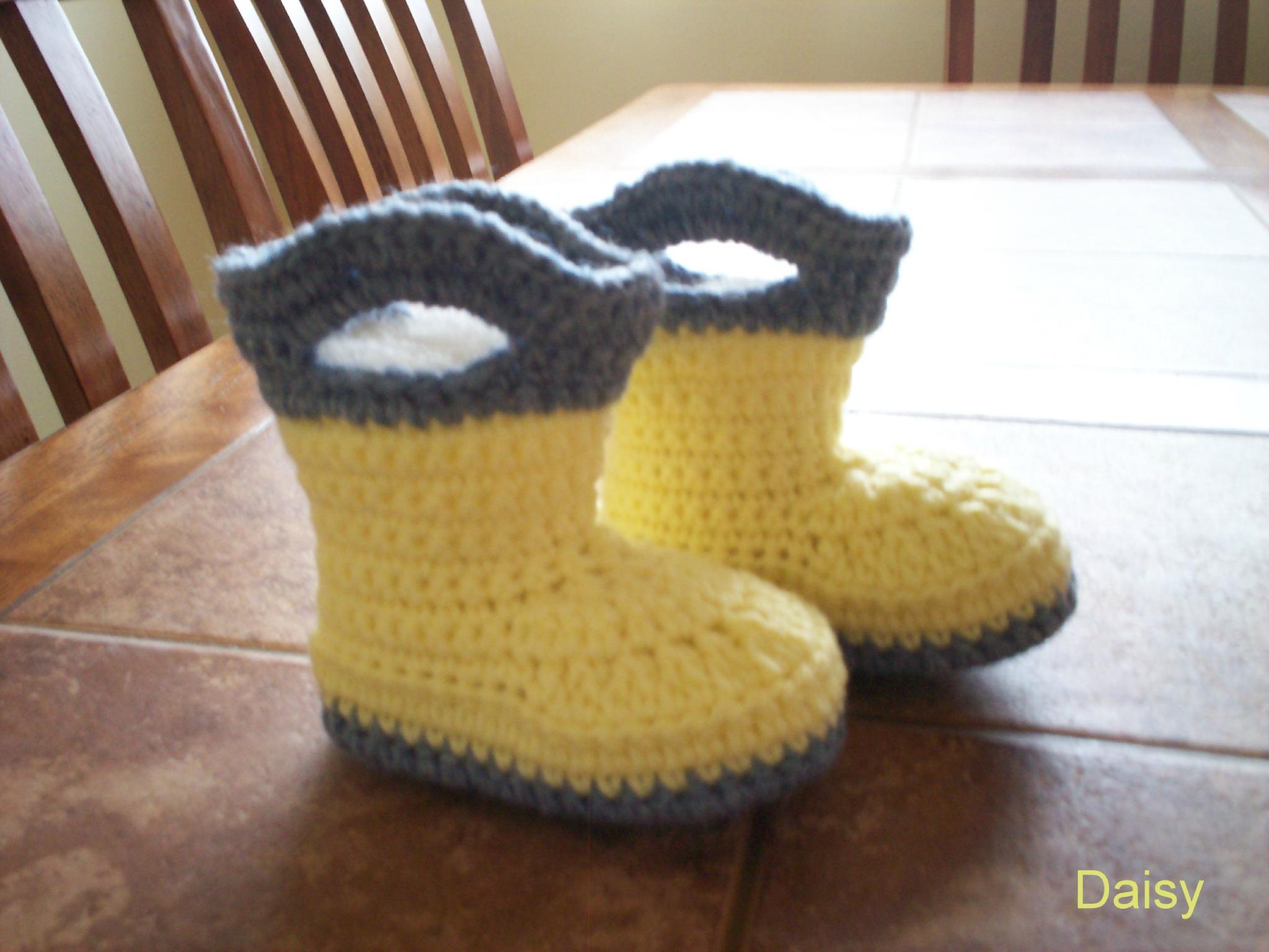 patron tricot pantoufle botte