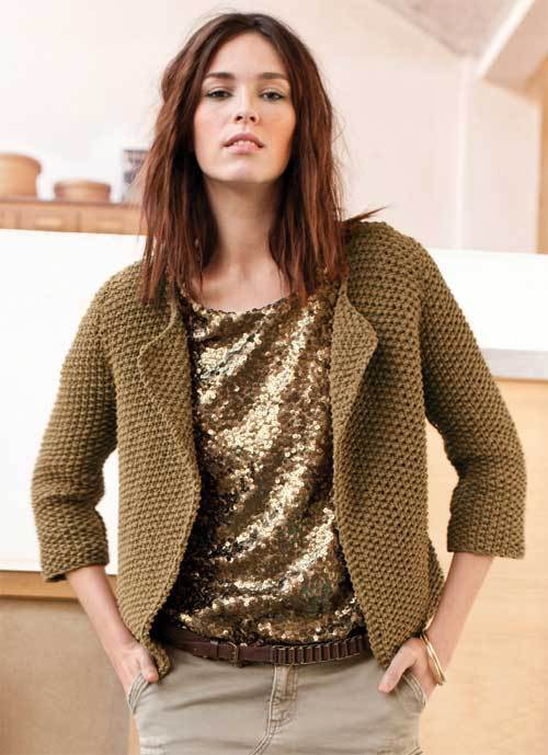 modèle tricot gilet court femme