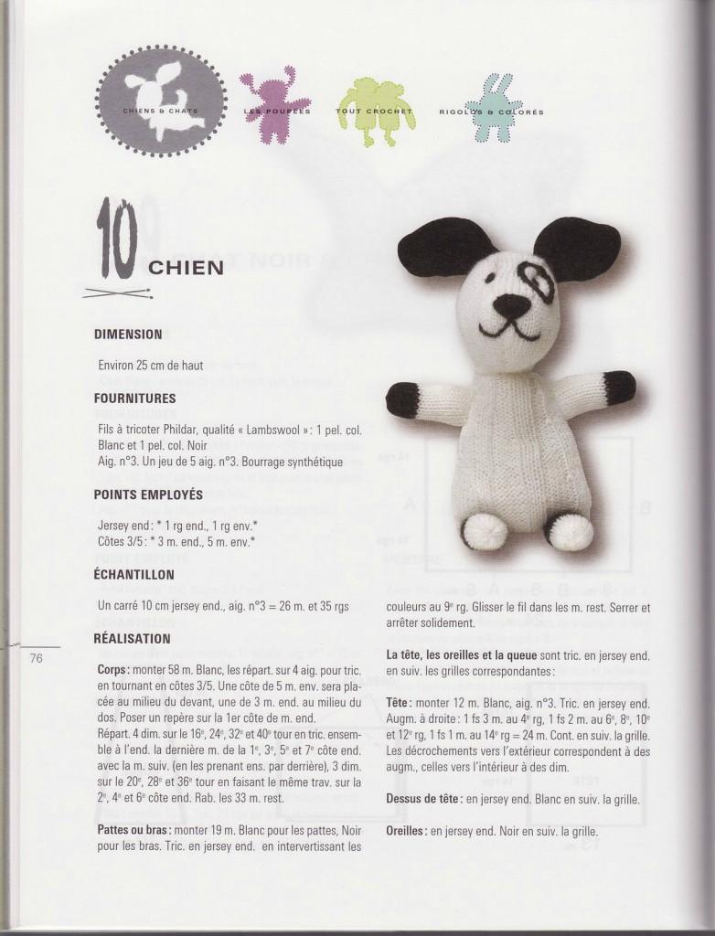 modèle tricot doudou chien