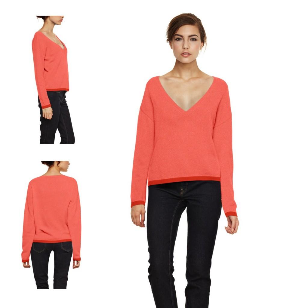 modèle tricot pull femme col v