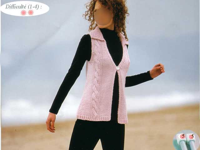 explication mod le tricot pull sans manche femme. Black Bedroom Furniture Sets. Home Design Ideas
