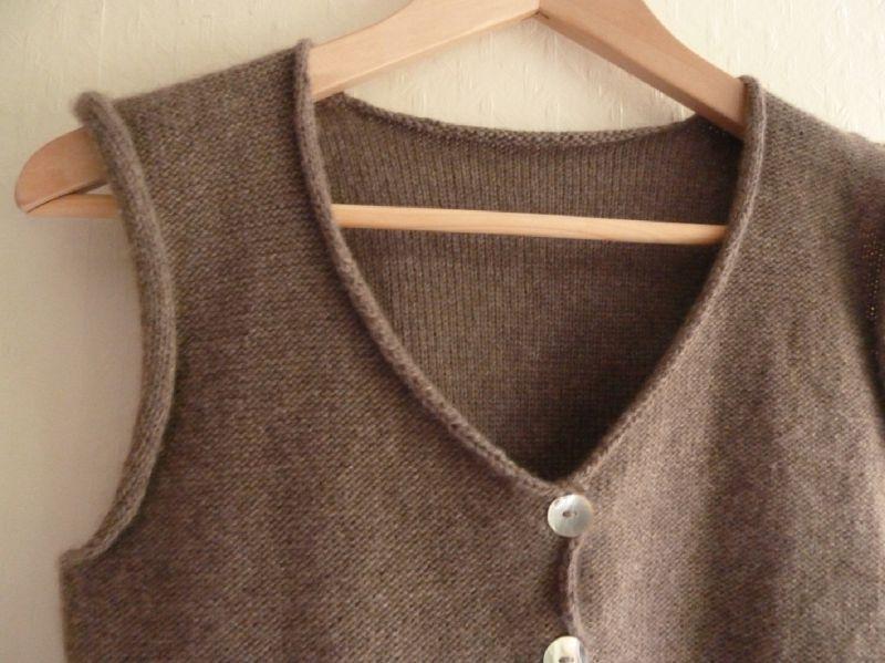 modele tricot gilet sans manches femme