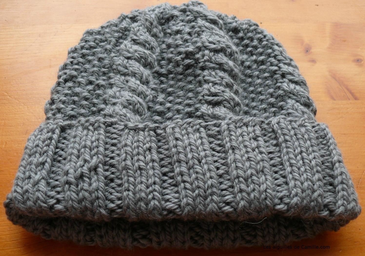 création modèle tricot bonnet homme aiguille 4 bouton source e48b93f93da