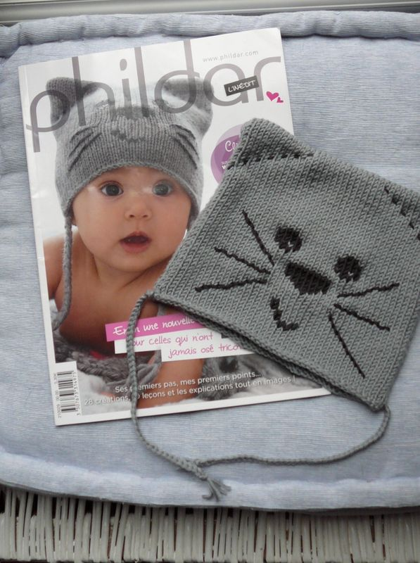 modèle tricot bonnet chat phildar
