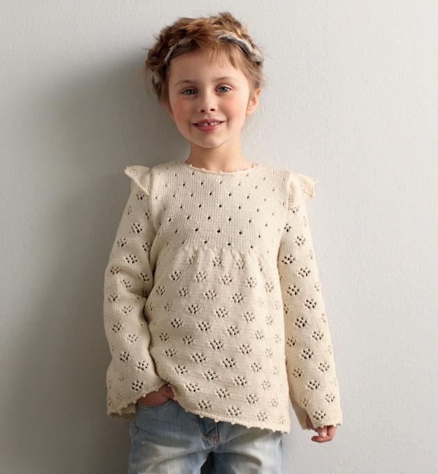 modèle tricot pull tunique fille