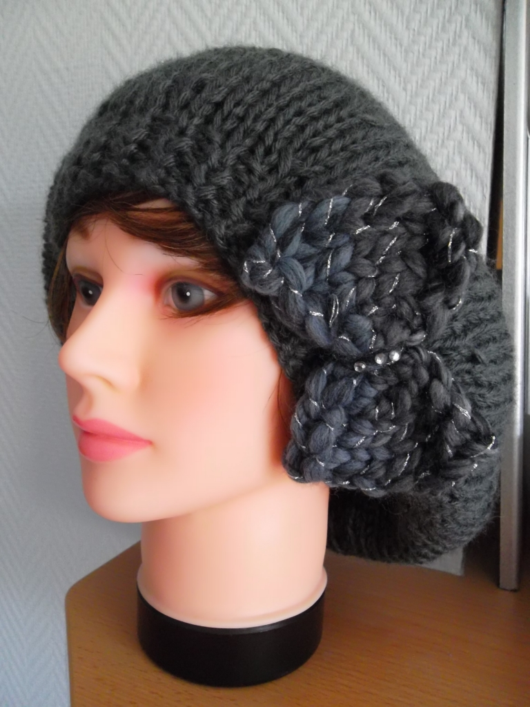 tricoter un bonnet large