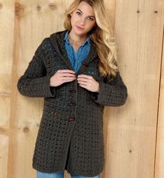 modèle tricot veste longue capuche