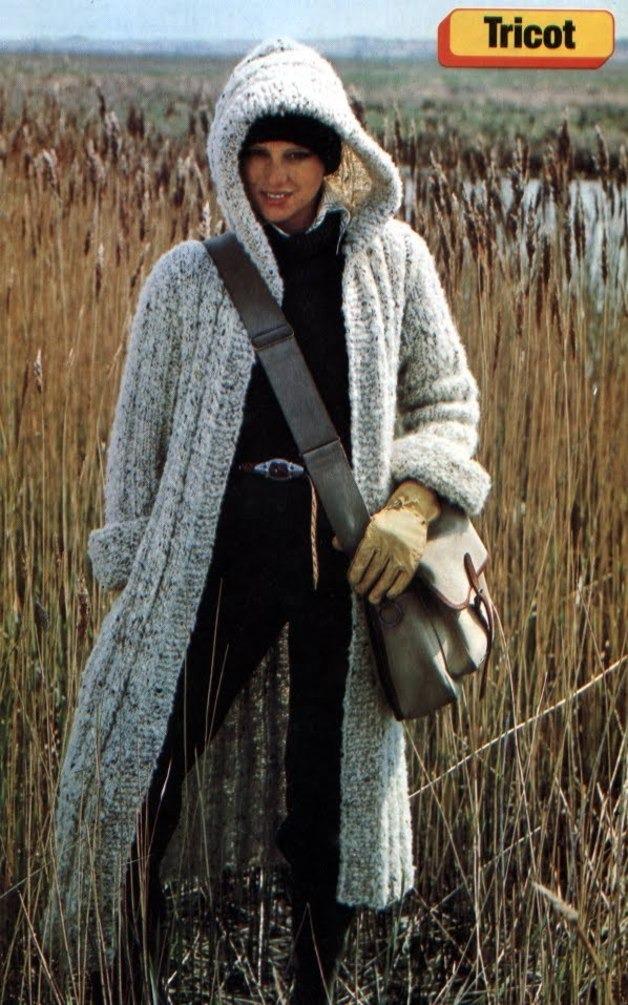 Manteau long femme en tricot