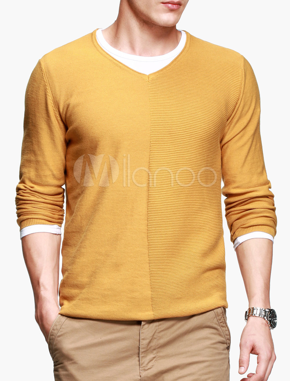 modèle tricot pull col v homme