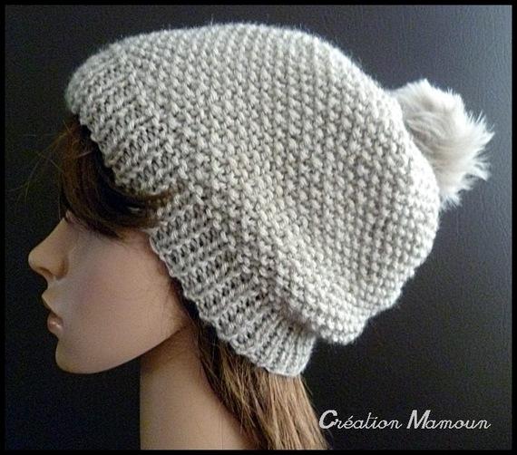 Image mod le tricot bonnet a pompon - Modele de bonnet a tricoter facile ...