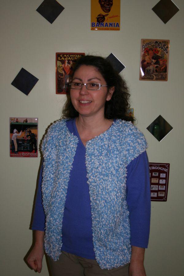 modèle tricot gilet sans manche femme