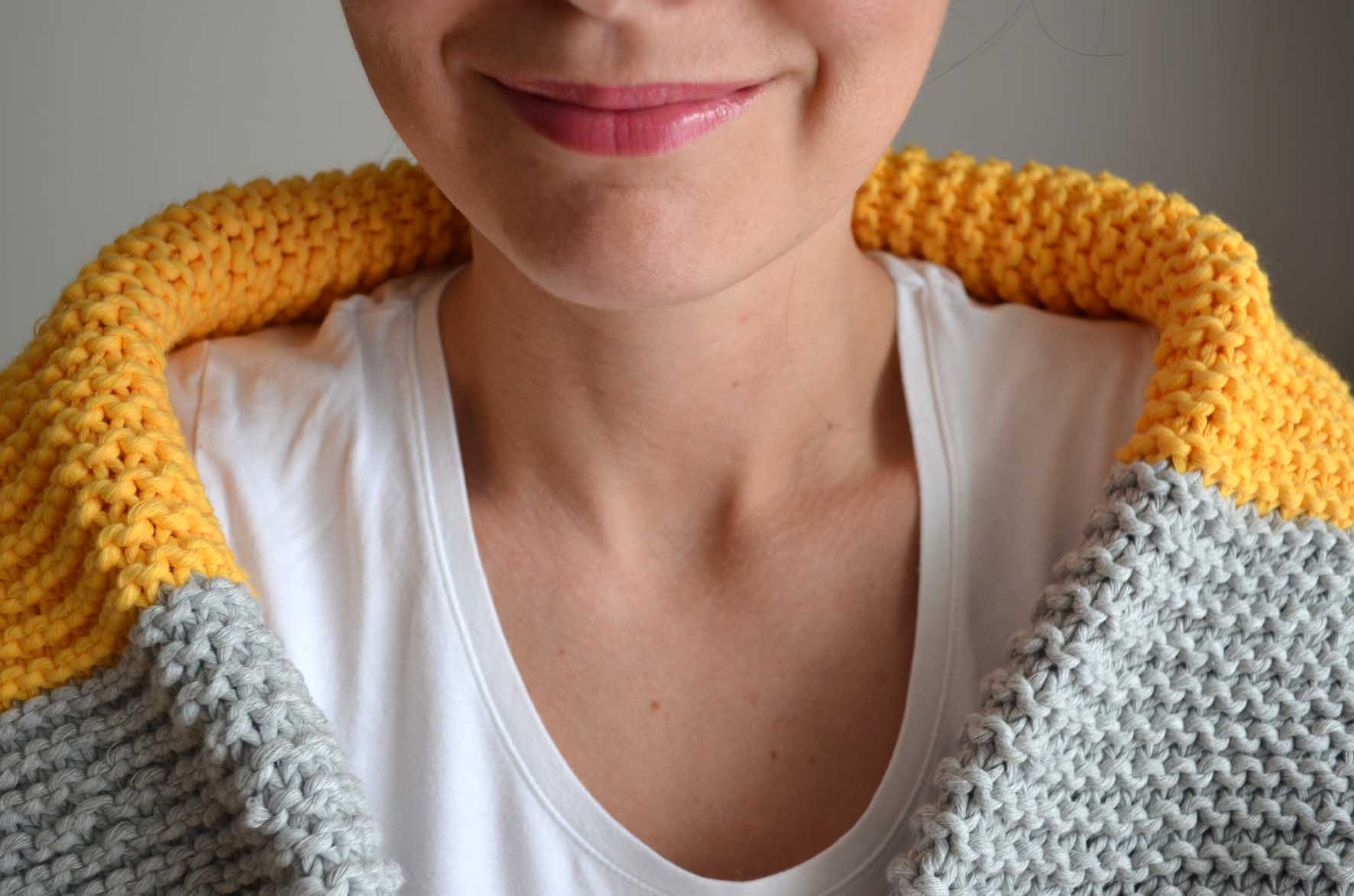 modele tricot echarpe point mousse