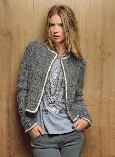 modèle veste tricot point irlandais
