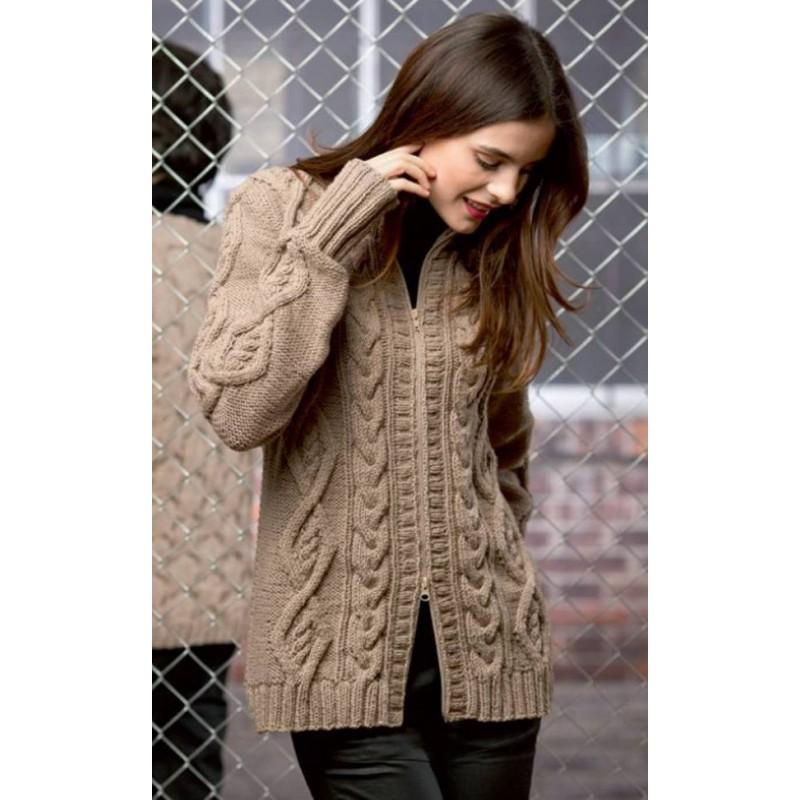 modele tricot gilet femme torsade