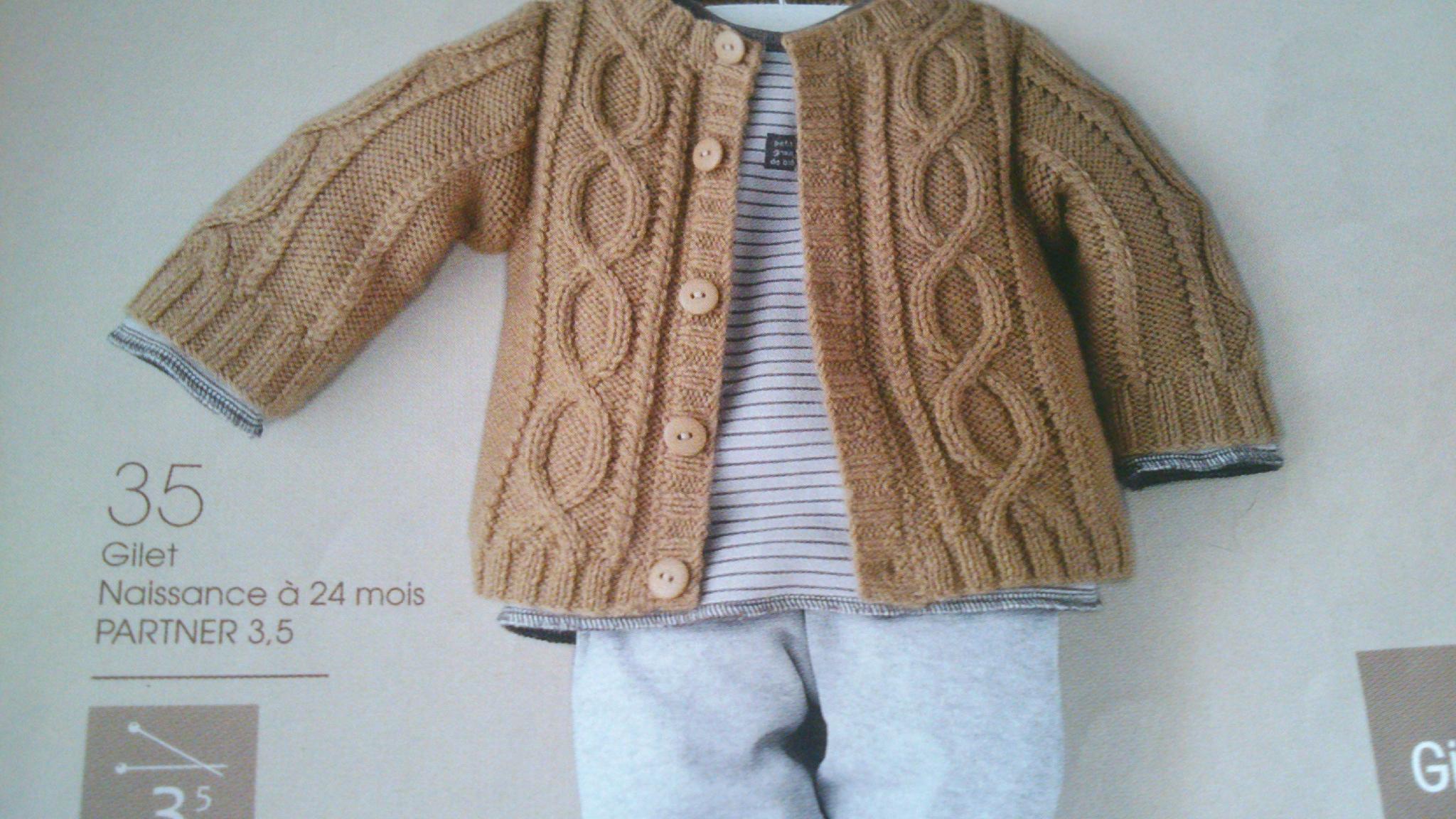 Mod le tricot gilet torsade - Laine pour tricoter avec les bras ...