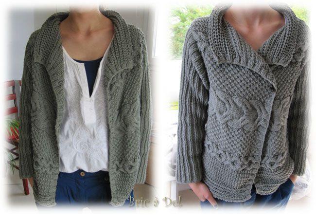 modèle tricot veste grosse laine