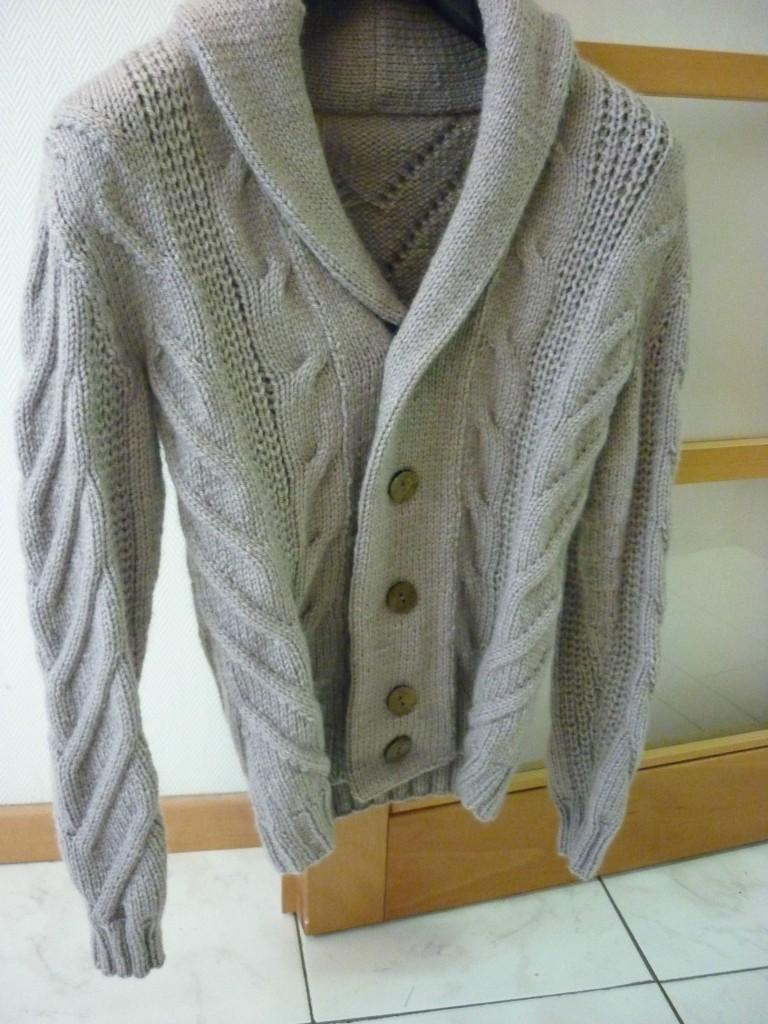 modele tricot veste col chale