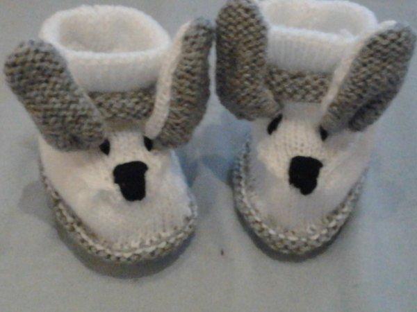 modèle tricot chausson lapin